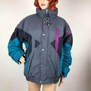 Vintage 80s Puffer Jacket 90s Color Block Ski Coat